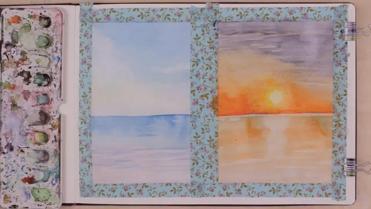 初学者如何用水彩绘画日落