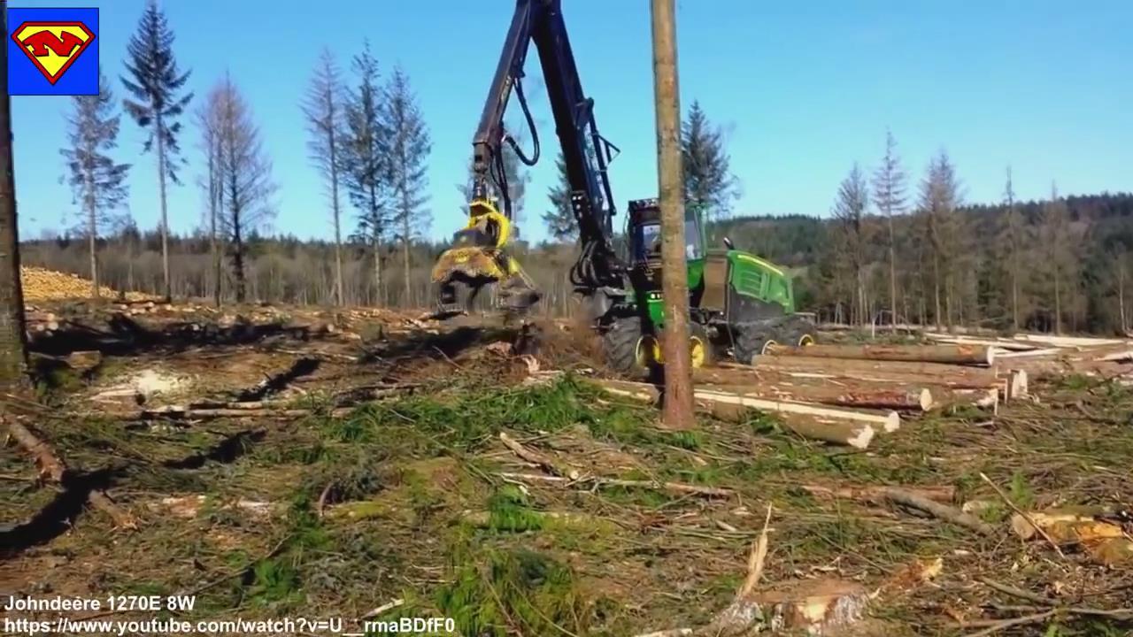 外国超级牛X的农业机械化及其自动化黑科技,半分钟砍掉一棵树